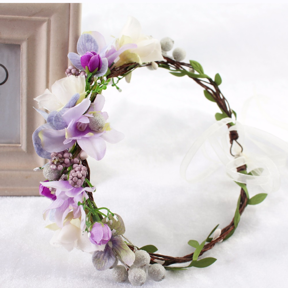 Fashion Berry Flower font b Wedding b font Tiara Bridal Head Wreath For Women Girl Christmas
