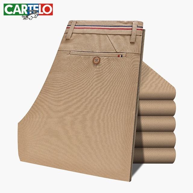 Cartelo marca pantalones casuales masculino 2017 otoño nuevos hombres de algodón puro pantalones de los hombres de negocios pantalones de los hombres delgados