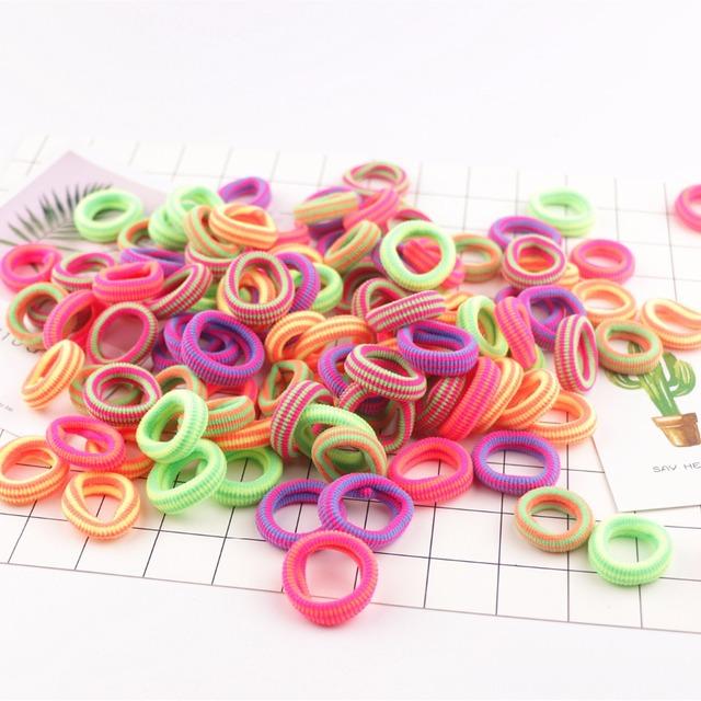 20PCS Lovely Children Hair Band Rainbow Mini Rubber Band 2cm Headband Girl Fashion Elastic Hair Bands Baby Hair Accessories
