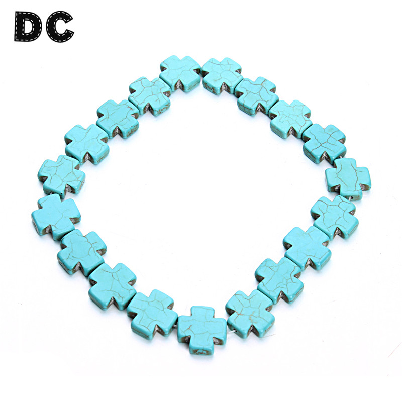 DC Approx 20pcs Flat Blue Cross Stone Loose Beads 20 mm fit Necklace Bracelet DIY Jewelry Making Components