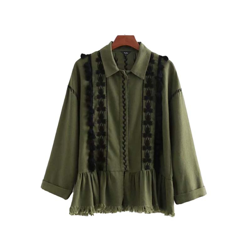 Vadim vintage floral embroidery jacket coat tassels long sleeve pleated coats retro army green casual chic outerwear tops CA078