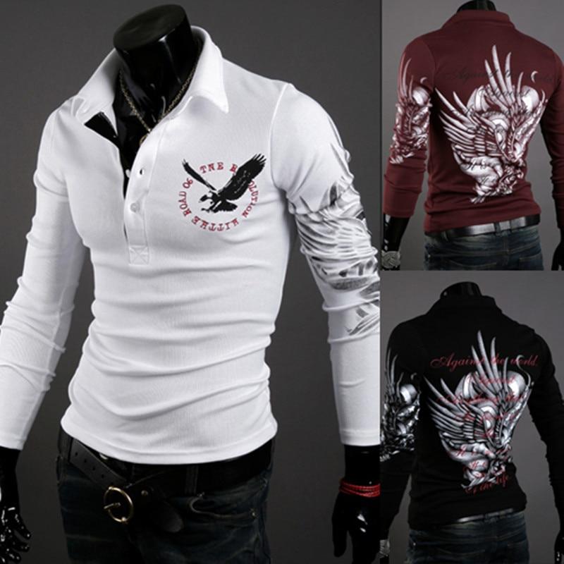2019 Autumn Fashion Brand Clothing Men polo shirt Eagle print Slim Fit Long Sleeve Shirt Men Cotton Casual polo shirts Size XXL