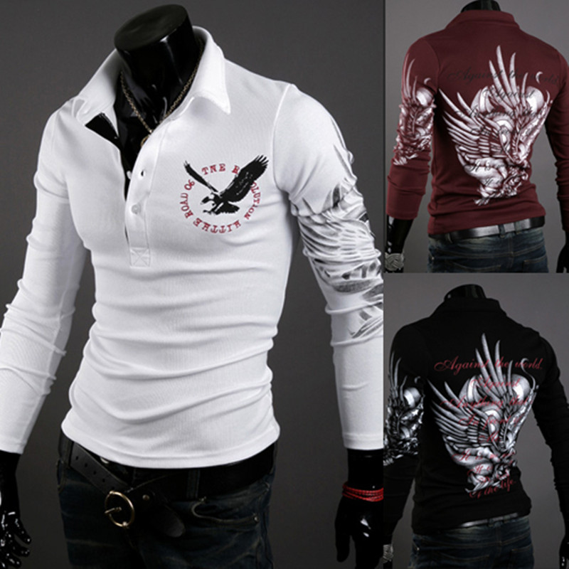 2019 Autumn Fashion Brand Clothing Men polo shirt Eagle print Slim Fit Long Sleeve Shirt Men Cotton Casual polo shirts Size XXL