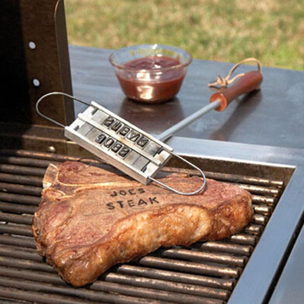 Persönlichkeit Steak Fleisch Grill BBQ Fleisch Branding Eisen Mit Veränderbar Buchstaben BBQ Werkzeug Veränderbar 55 Buchstaben