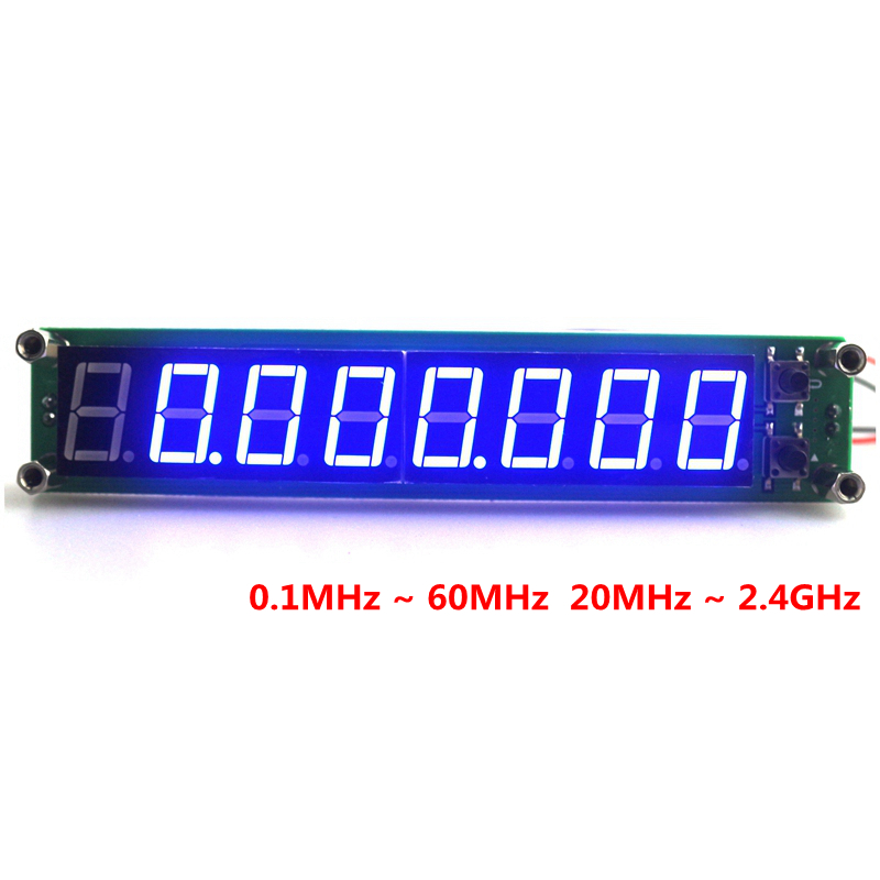 Digital Frequency Meters Cymometer 8 Digits 0.56 0.1MHz ~ 60MHz 20MHz ~ 2.4GHz Frequency Counter Herz Tester Blue Led DC 9V~15V mini handhold digital frequency counter tester indicator detector cymometer remote control transmitter wavemeter 250 450mhz