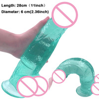 Transparent crystal green 11 inch 28cm big dildo with suction cup sex penis,artificial penis for woman woman sex product sex toy