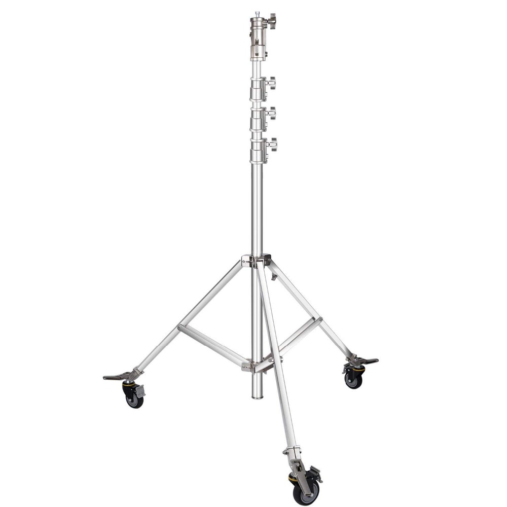 Photo Studio Wheeled Roller Light Stand - Heavy Duty Stainless Steel, Adjustable 59 inches to 166 inches Height  CD30Photo Studio Wheeled Roller Light Stand - Heavy Duty Stainless Steel, Adjustable 59 inches to 166 inches Height  CD30