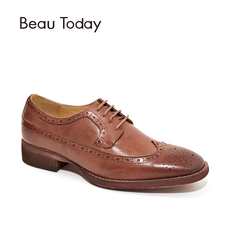 BeauToday Brogue Shoes Women Flats Wingtip Genuine Leather Waxing Sheepskin Lace-Up Square Toe Female Shoes Handmade 21098 qmn women genuine leather platform flats women lace cut glossy leather square toe brogue shoes woman lace up leisure shoes 34 39
