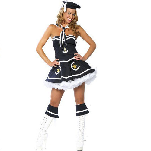 MOONIGHT 2019 Women Adult Girls Sexy Profession Sailor Costumes marine Blue Girl Costumes Dress Set Halloween Costumes