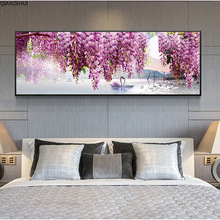 QIANZEHUI,DIY 5Dหงส์สีม่วงดอกไม้เย็บปักถักร้อยเพชรรอบเพชรRhinestoneภาพวาดเพชรCross Stitch,เย็บปักถักร้อย