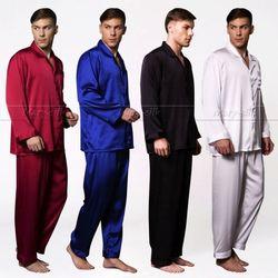 رجل الحرير بيجامة من الساتان مجموعة منامة مجموعة Pjs ملابس خاصة المتسكعون S ، M ، L ، XL ، 2XL ، 3XL ، 4XL حجم كبير _ _ يناسب كل موسم