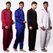 Мужские шелковые атласные пижамные комплекты, пижамные комплекты, одежда для сна, домашняя одежда, размеры S, M ,L ,XL,2XL,3XL,4XL, цвет черный, подходит для всех сезонов