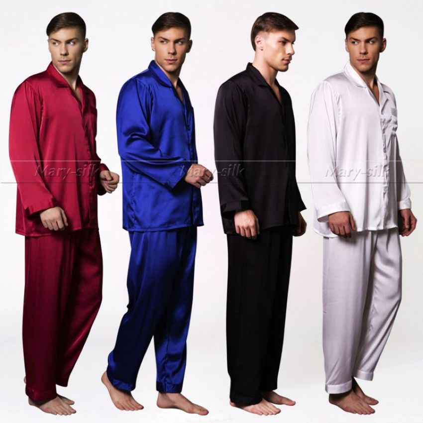 Mens Silk Satin Pyjamas Set Pyjamas Set Pjs Nachtwäsche Loungewear S, M, L, XL, 2XL, 3XL, 4XL Plus Size__Fits All Season