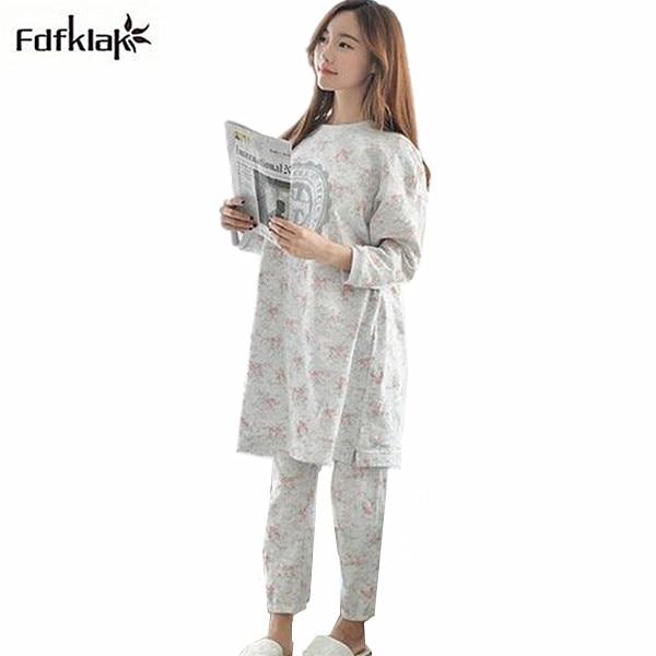 newest 8c176 66250 US $24.52  Korean herbst winter pyjamas cartoon langarm baumwolle pyjama  set plus größe pijamas mujer pijama frauen M L XL XXL 3XL Q580 in Korean ...