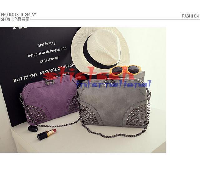 by dhl or ems 20pcs Rivet Shoulder Women Bag Vintage Scrub Shell Messenger Bags Chain Strap Crossbody Bag Clutch Bolsa Feminina
