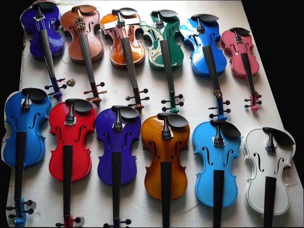 Livraison gratuite violon étudiant violon bois massif fini épicéa haut érable dos rouge noir blanc bleu vert Ect 4/4-1/8