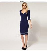 Latest Dress Designs S XL Plus Size Vestidos Patchwork Dress OL Ladies Knee Length Office Dress