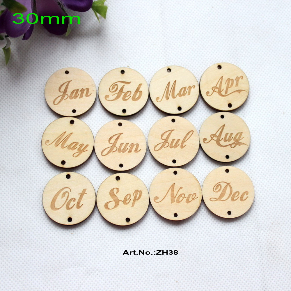 (12style, 120pcs/lot) 30mm 2 Holes Natural Wooden Disc Jan Feb March April May June July ...