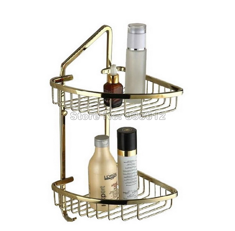 Gold Color Brass Wall Mounted Bathroom Accessory / 2 Layer Bathroom Antique Brass Shower Shelf Caddy Basket Storage Wba098 bathroom accessory wall mounted 2 tier triangular shower caddy shelf bathroom corner rack storage basket hanger wba076