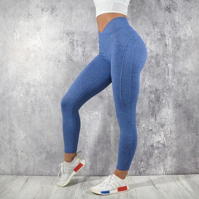 NORMOV Fashion Yoga Pants Sport Leggings Women Sport Fitness V Shape Legging Push Up Leggings Pants Female Running 2