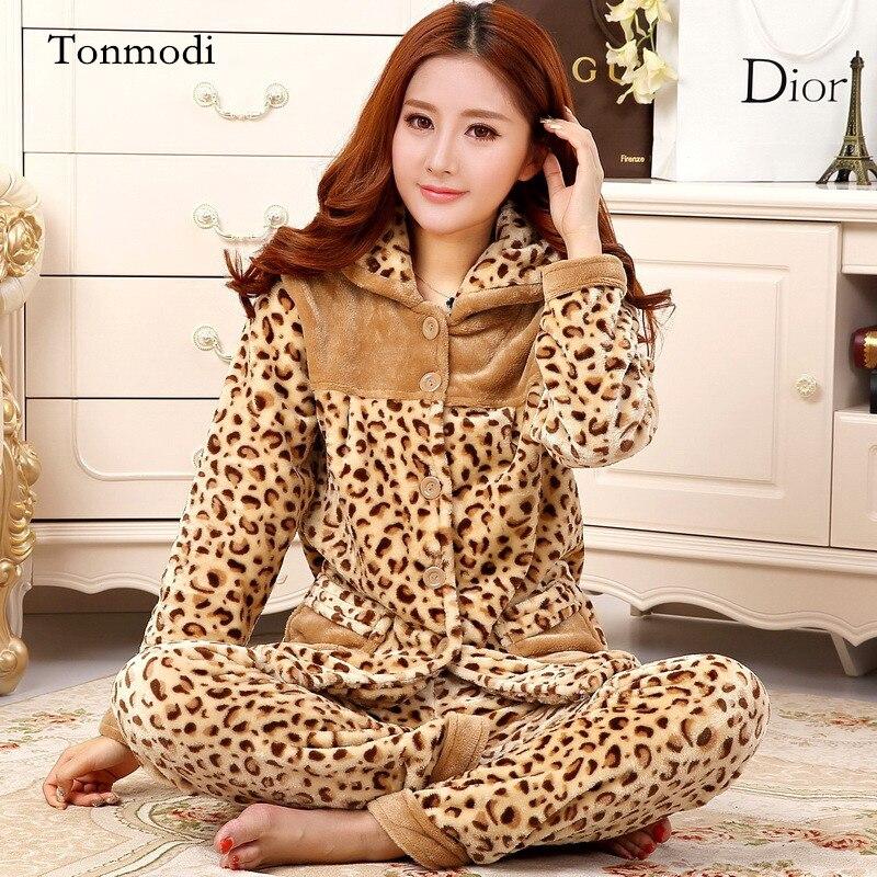 Womens pajamas Long Sleeve Sleepwear Coral velvet warm Winter Pyjamas Thickening pajama Women lounge Pajamas Set ...