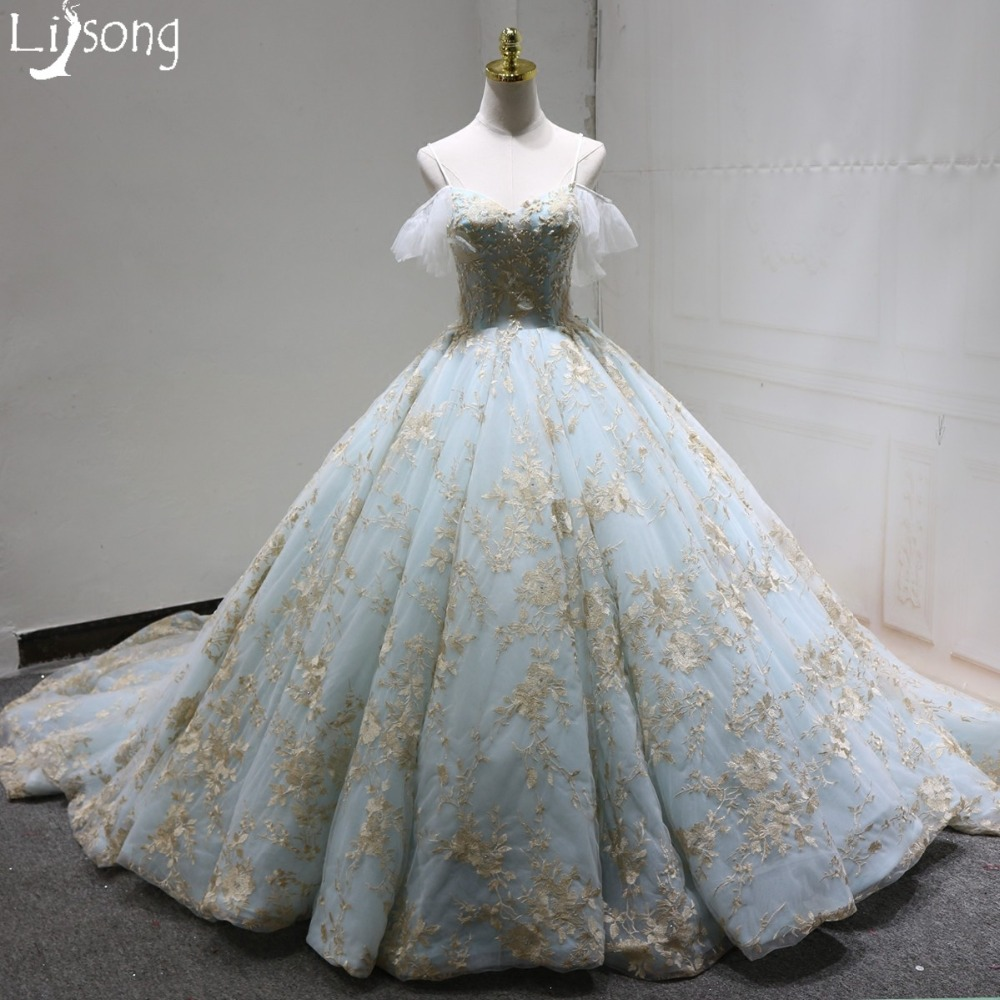 Gold Embroidery Appliques Sky Blue Evening Ball Gowns Puffy Women ...