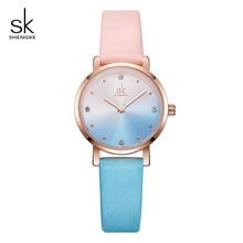 Shengke criativo cor relógios de couro feminino senhoras relógio de quartzo relogio feminino 2019 sk feminino relógio de pulso montre femme # k8029
