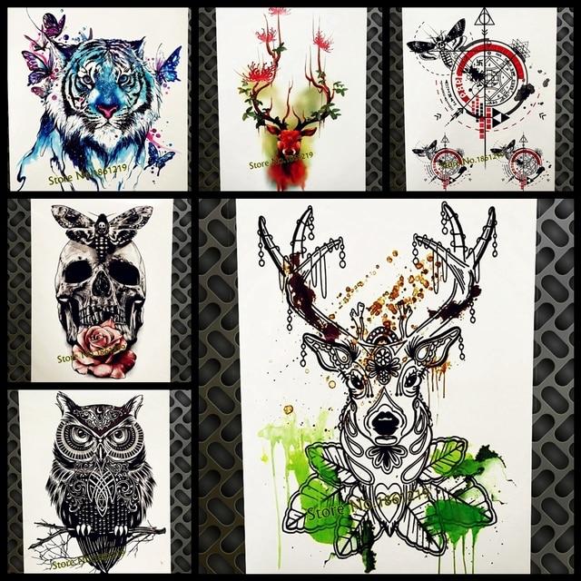 Green Water Color Temporary Tattoo Diamond Deer Horn Waterproof Fake Flash Tattoo Stickers 21x15CM Moose Antler Totem Tatoos