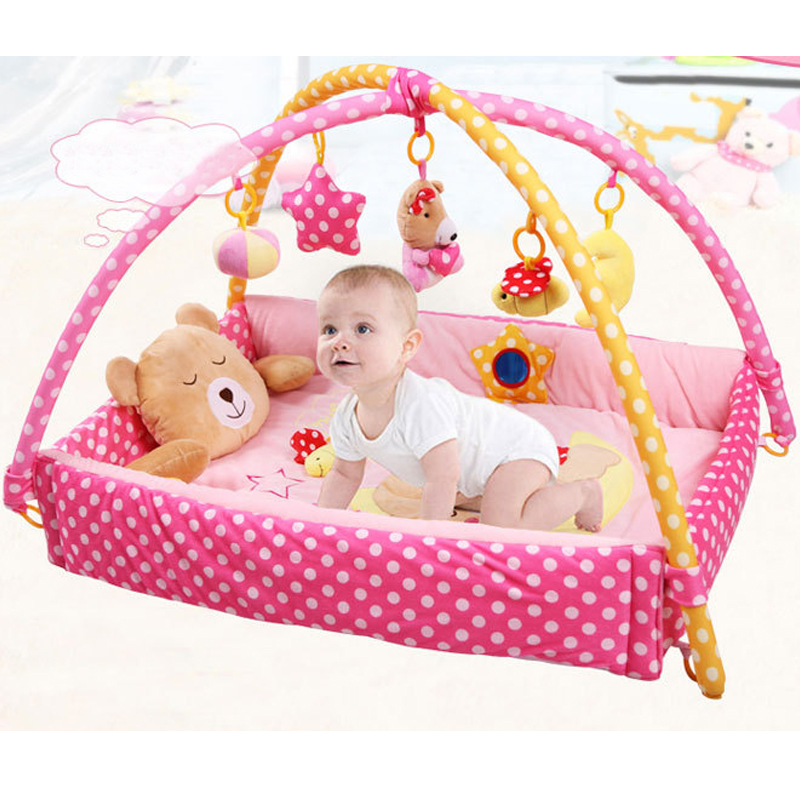 Baby Soft Large Play Mat Game Foldable Educational Crawling Activity Play Gym Kids Blanket Children Plush Toys Bear 110cm