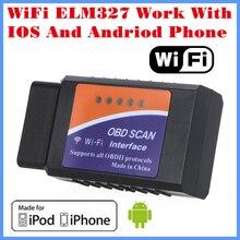 [Бесплатная Доставка] 2017 Новое Прибытие Код читатель Диагностический Инструмент ELM327 Wi-Fi Работы С iPhone и Android OBD-II БД Моёет