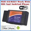 [Transporte livre] 2017 nova chegada leitor de código de ferramenta de diagnóstico wi-fi wi-fi elm327 trabalho com iphone e android obd-obd ii pode