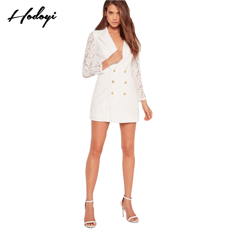 Hodoyi Fashion Women Blazer Solid White Long Sleeve V-Neck Patchwork Coat Double Breasted Streetwear Casual Lace Blazer