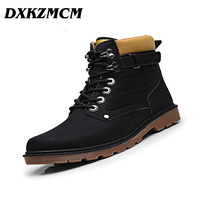 DXKZMCM Keep Warm Men Winter Boots High Quality Pu Leather Retro Velvet Fahsion Men Boots