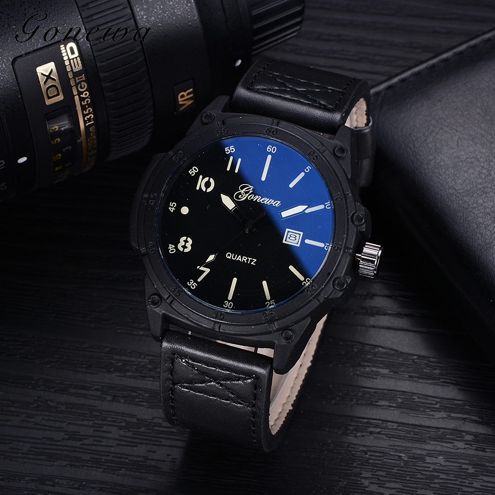Gonewa Mens Watches Top Brand Luxury 2017 New Vintage v Military Watch Leather Wristwatch Waterproof Fashion Quartz Watch GON026 skmei 6911 womens automatic watch women fashion leather clock top quality famous china brand waterproof luxury military vintage