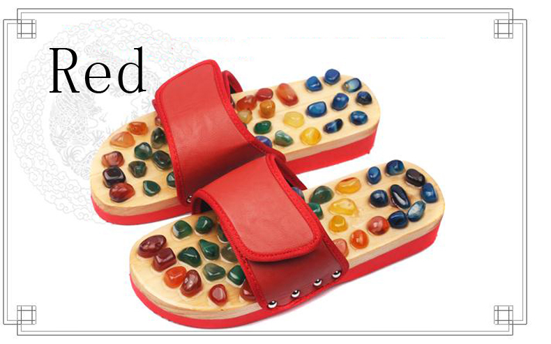 Health care Wooden base acupuncture foot massage slippers natural stone acupoint massage slippers Home slippers / tb 170928 1 pair health care foot acupoint massager flat slippers for male female