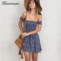 Hirsionsan 2017 Summer Off Shoulder Boho Dress Floral Printed High Waist Beach Dress Sexy Bohemian Style