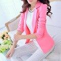 Mulheres Terno 2016 Moda Primavera Outono Único Botão Blazers E Jaquetas Blaser Feminino Branco/Preto/Rosa/Azul senhoras Blazer Femme