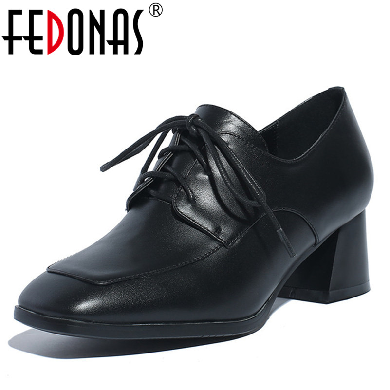 FEDONAS New Spring Autumn Women High Heels Office Pumps Genuine Leather Female Ladies Pumps Square Toe Shoes Woman Size 34-42