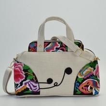acb6e1206eebd اليابانية و الكورية نمط جديد اليد المطرزة المرأة التطريز القطن و الكتان  واحدة الكتف قطري حقيبة