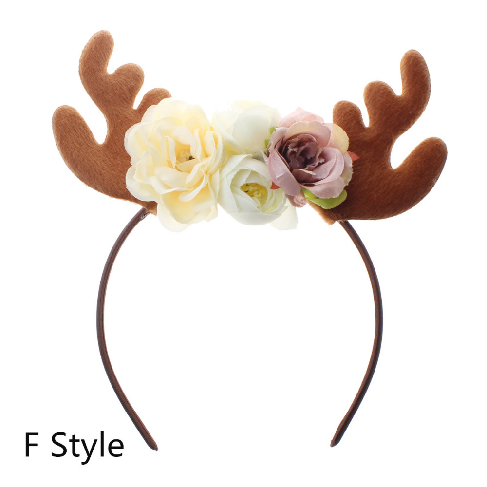 Funny Christmas Deer Antler Headband With Flowers Blossom Novelty Party  Hair Band Headware for Baby Kids Girls (F Style) 81fde94d891