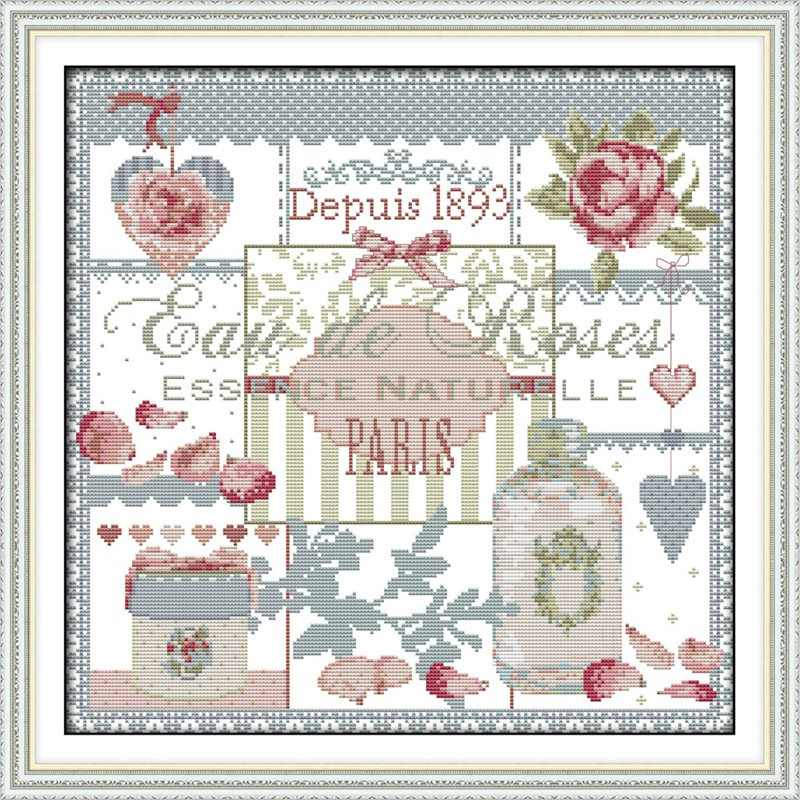 Pink Roses(3) Pattern Counted DMC Cross Stitch DIY 11CT 14CT Chinese Cross-Stitch Kit Handmade Home Decor Embroidery Needlework