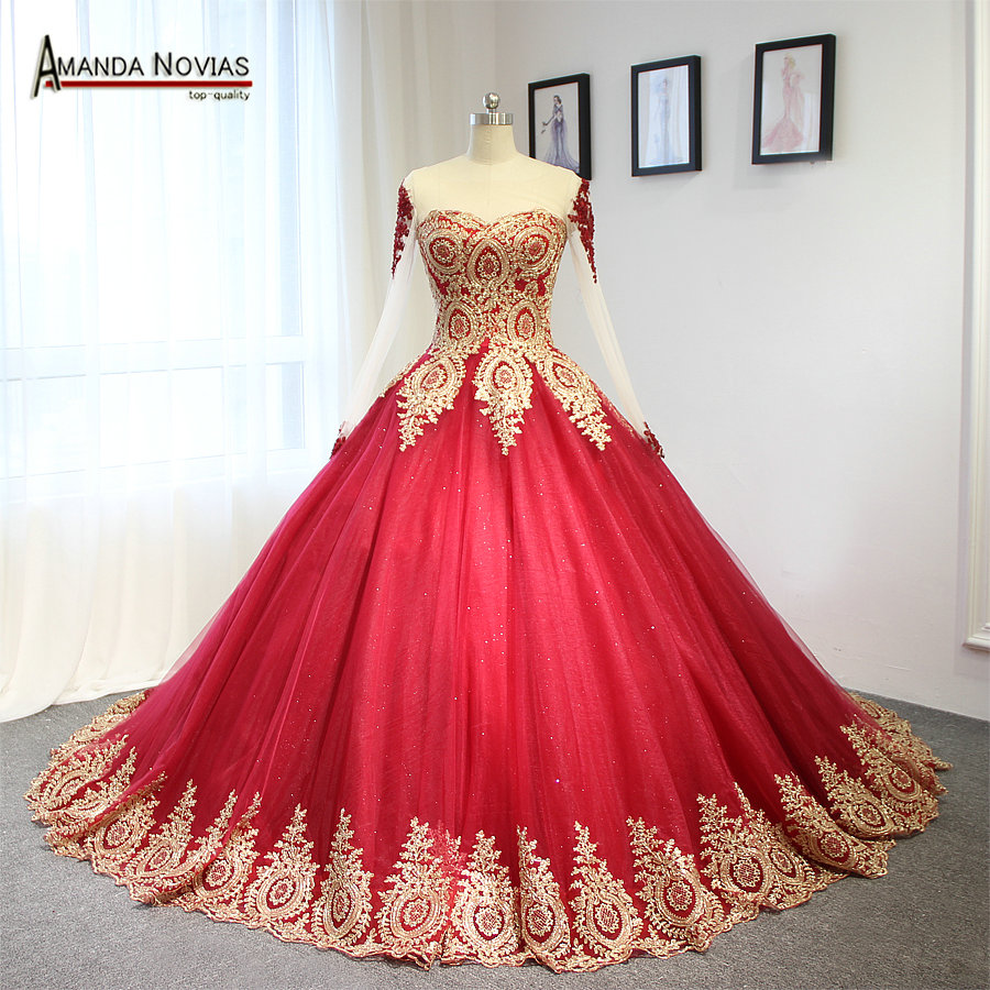 Image 2 - 2019 Luxury Wine Red With Golden Lace Wedding Dress Ball Gown With Sleeveswine redwith sleeveswedding dress with lace -