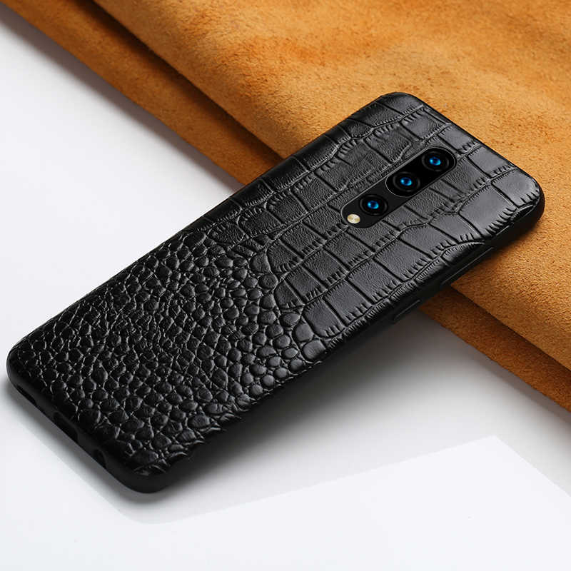 Estojo De Couro genuíno Para Oneplus 7 6 T 6 Telefone Armadura para 7 Pro 5 5 T maravilha de luxo À Prova de Choque tampa Do Smartphone crocodilo Garin