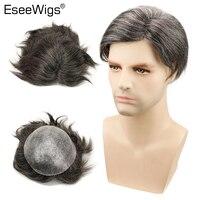 Eseewigs прямые парик 1B бразильские волосы remy смешанные 20% Синтетические серые волосы парики для мужчин 10x8 вся кожа PU вокруг