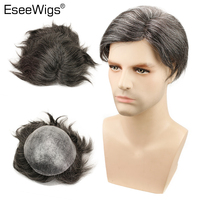Eseewigs Straight Toupee 1B Brazilian Remy Hair Mixed 20% Synthetic Grey Hair Wigs For Men 10x8 Whole Skin PU Around
