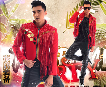 100%real men red tassels beading sewing event/stage performance short tuxedo jacket/stage performance/ASIA SIZE/only jacket