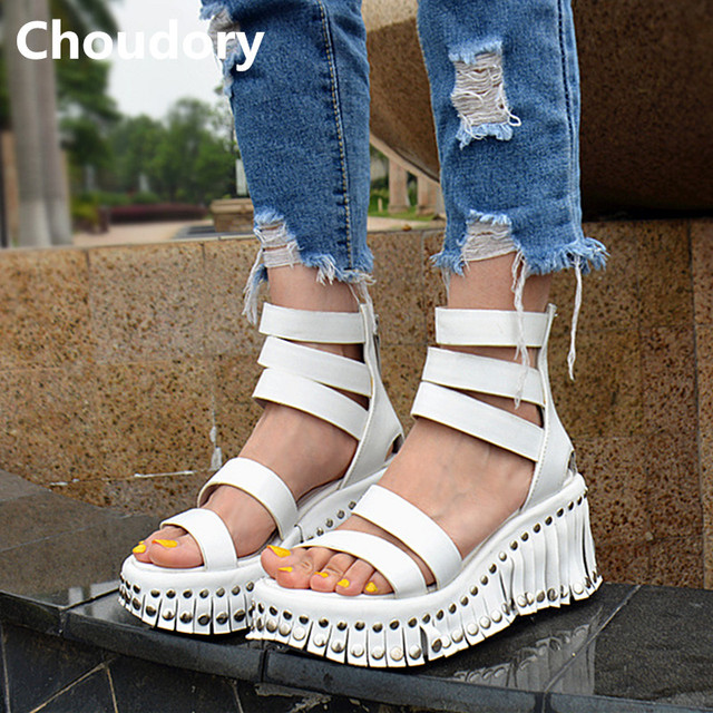 e9a7e625cdc2 Choudory Fashion Fringe High Heels Wedges Dress Shoes Woman Summer New Real  Leather Gladiator Sandals Women