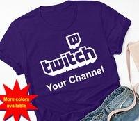 Twitch логотип индивидуальный заказ футболка (ваш канал вещания стримеры подарок Удобная футболка, Повседневная футболка с коротким рукавом