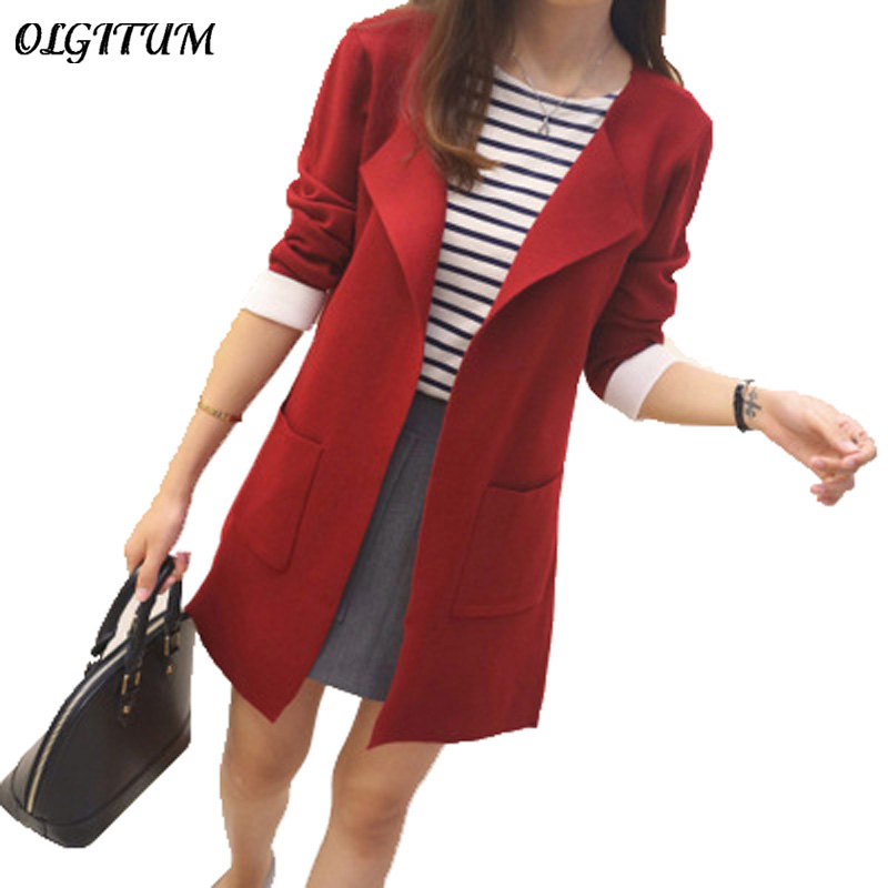 2019 spring autumn new Women Sweater coat Turn down Collar Causal Pockets long Sleeve Cardigans Long sweater Coat