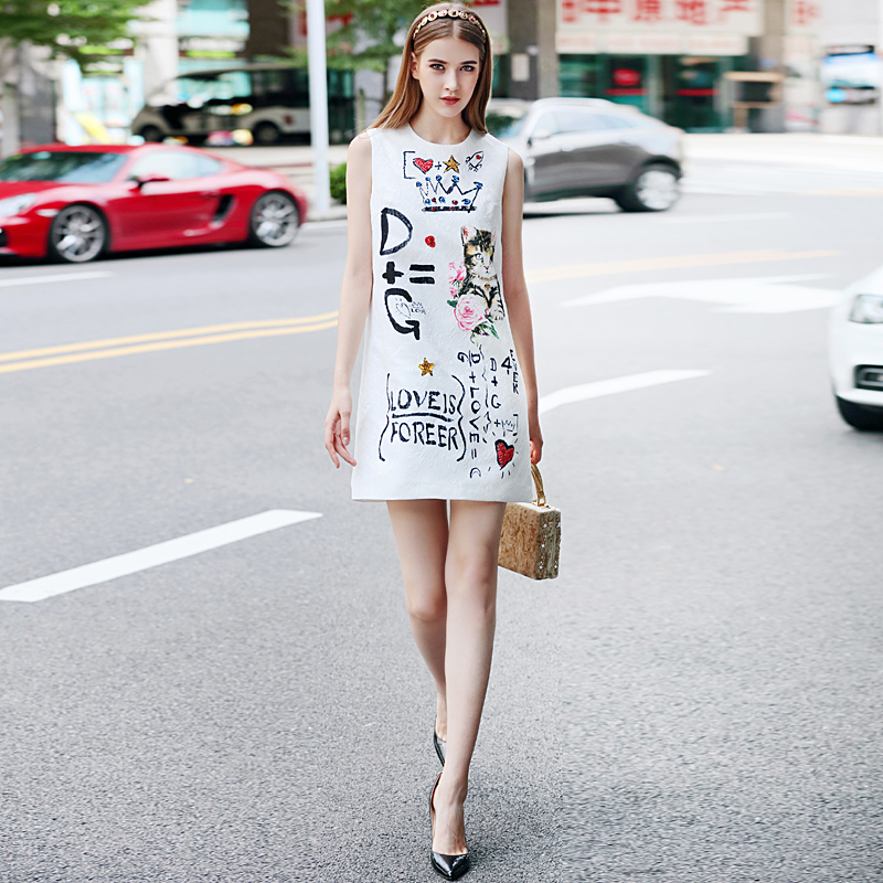 High Quality Short Dress Runway Spring Summer Women New Fashion Party Office Vintage Elegant Cat Print Sleeveless Vest Dress